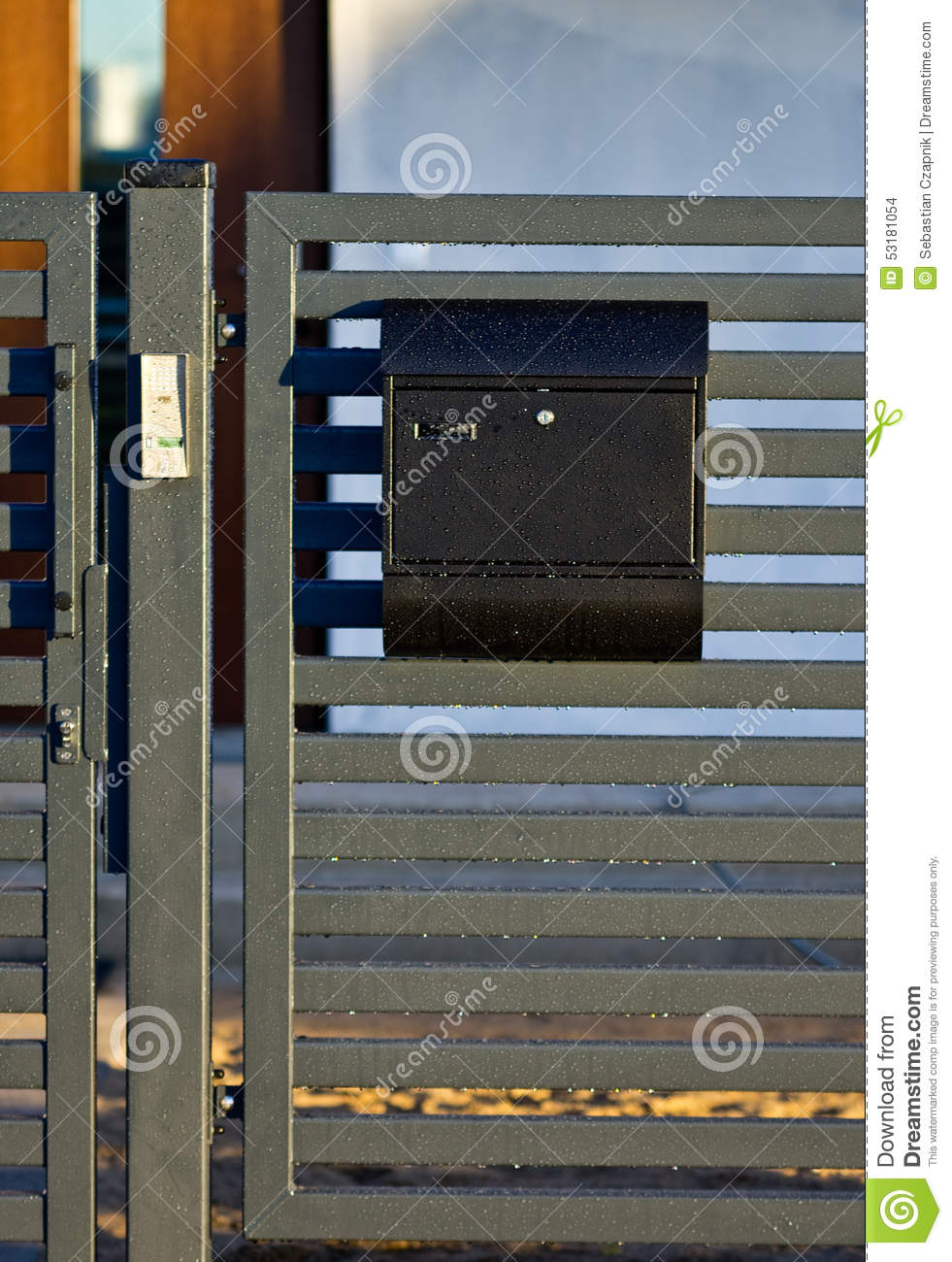 Mailbox on a house fence stock photo   image: 53181054