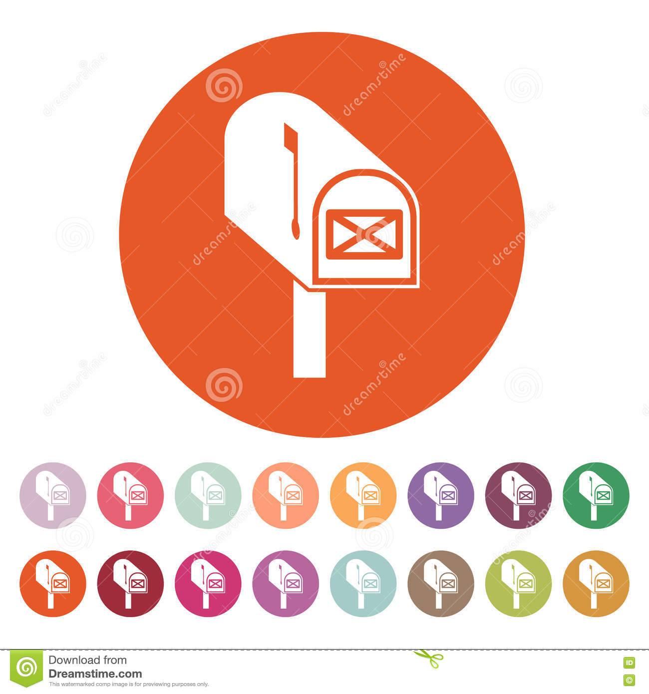 The Mailbox Icon. Mail, Postal, Post Office Symbol. Flat