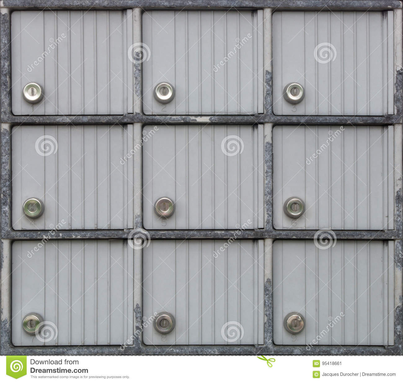 Mailbox Lock Many Metal Doors Safe Boxes Stock Image Image Of Closed Mail 95418661