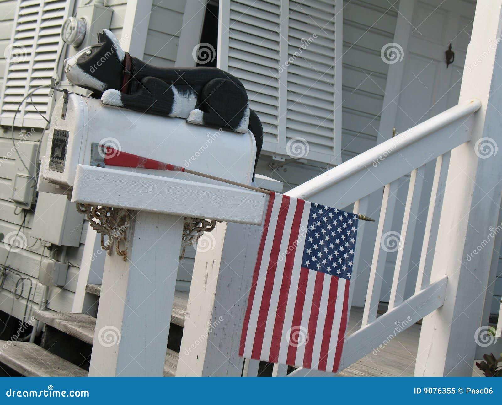 Mailbox mit einer Katze und einer amerikanischen Flagge
