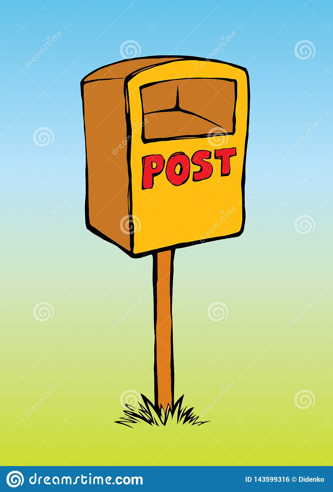 Mailbox rysuje tła trawy kwiecistego wektora