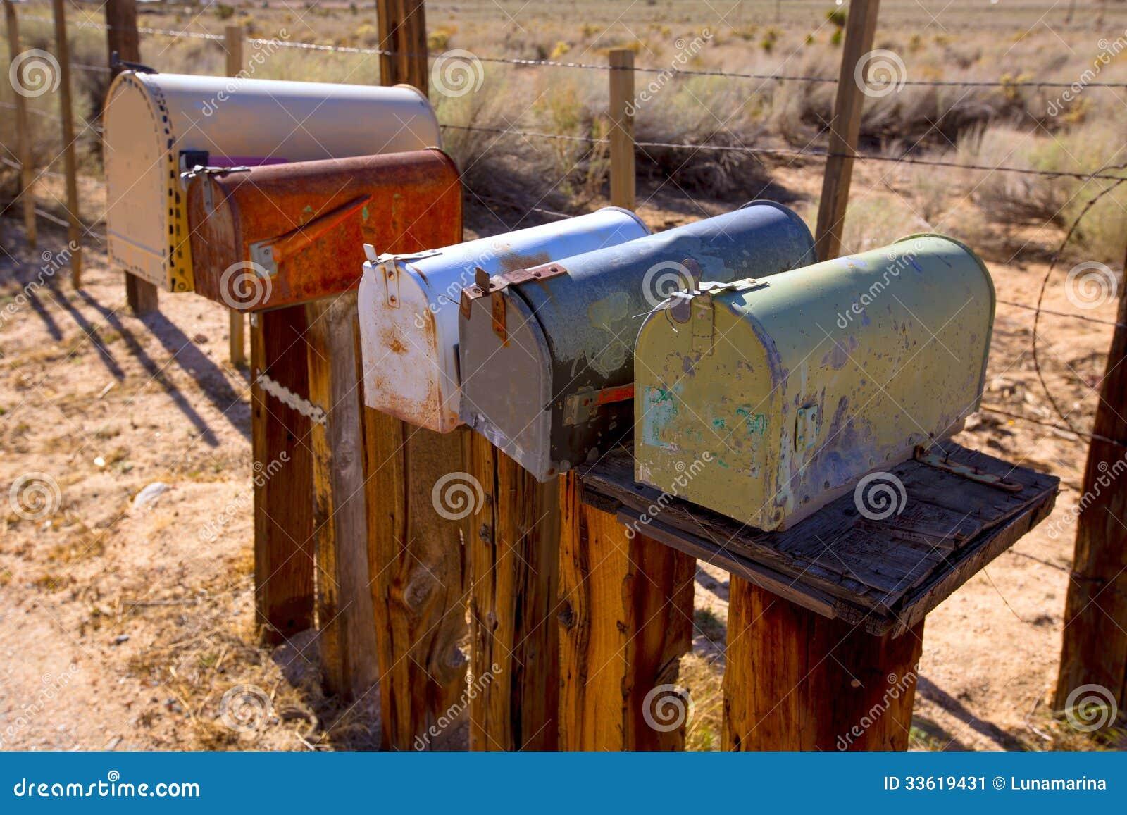 mailboxes aged vintage in west california desert stock image image 33619431. Black Bedroom Furniture Sets. Home Design Ideas