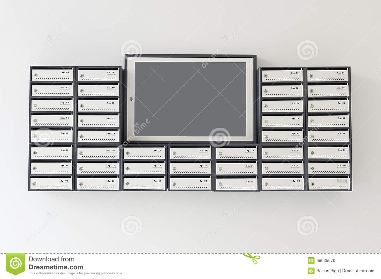 Mailboxes For Apartment Building Stock Photo - Image of notification ...