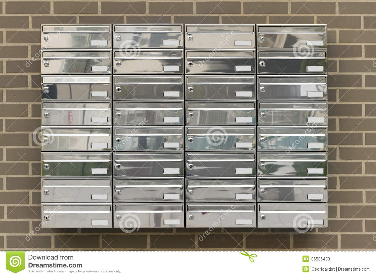 mailboxes in a building houses stock photo image 36536430