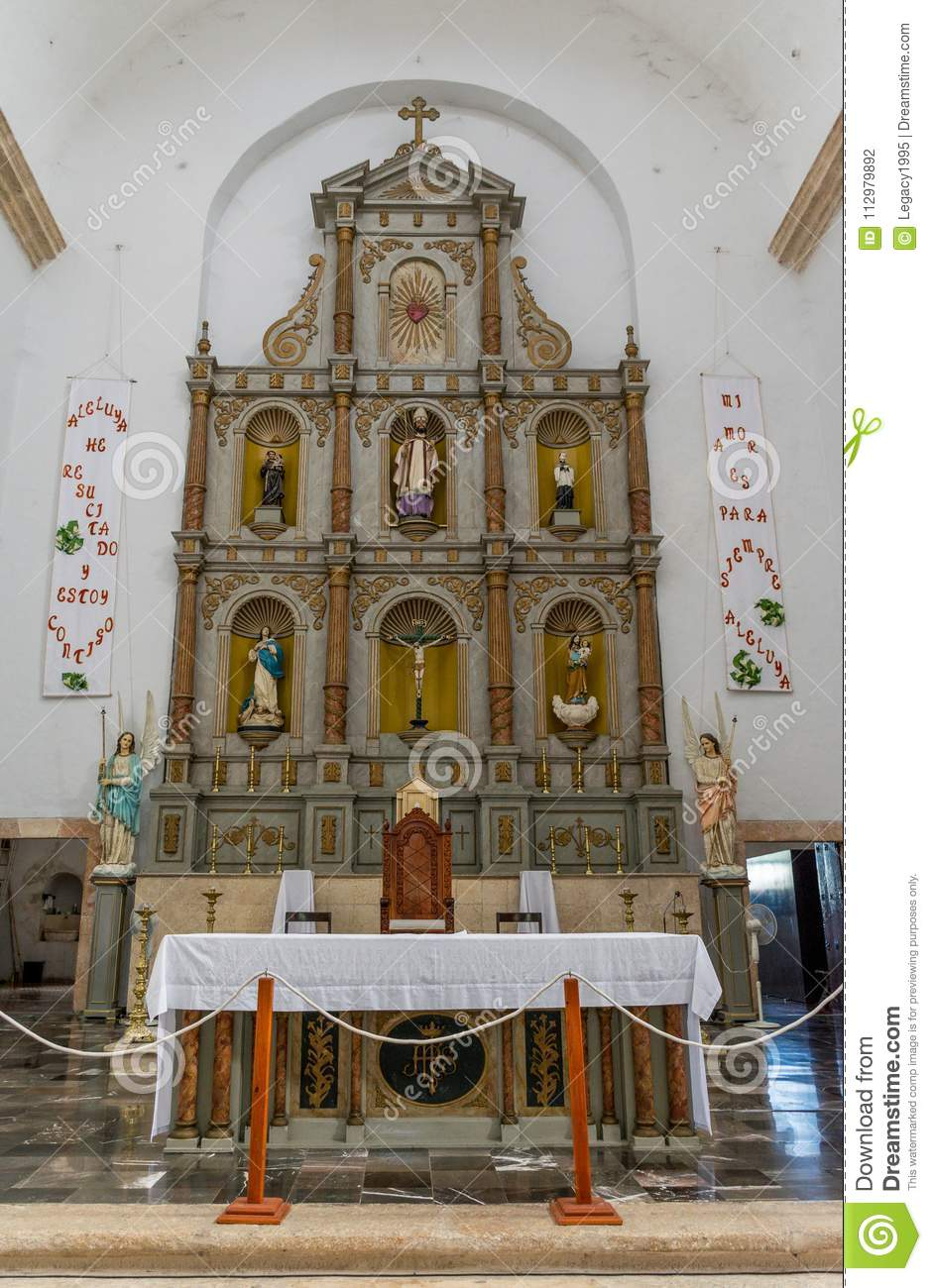 Main Altar in the Cathedral of San Gervasio in Valladolid, Mexico