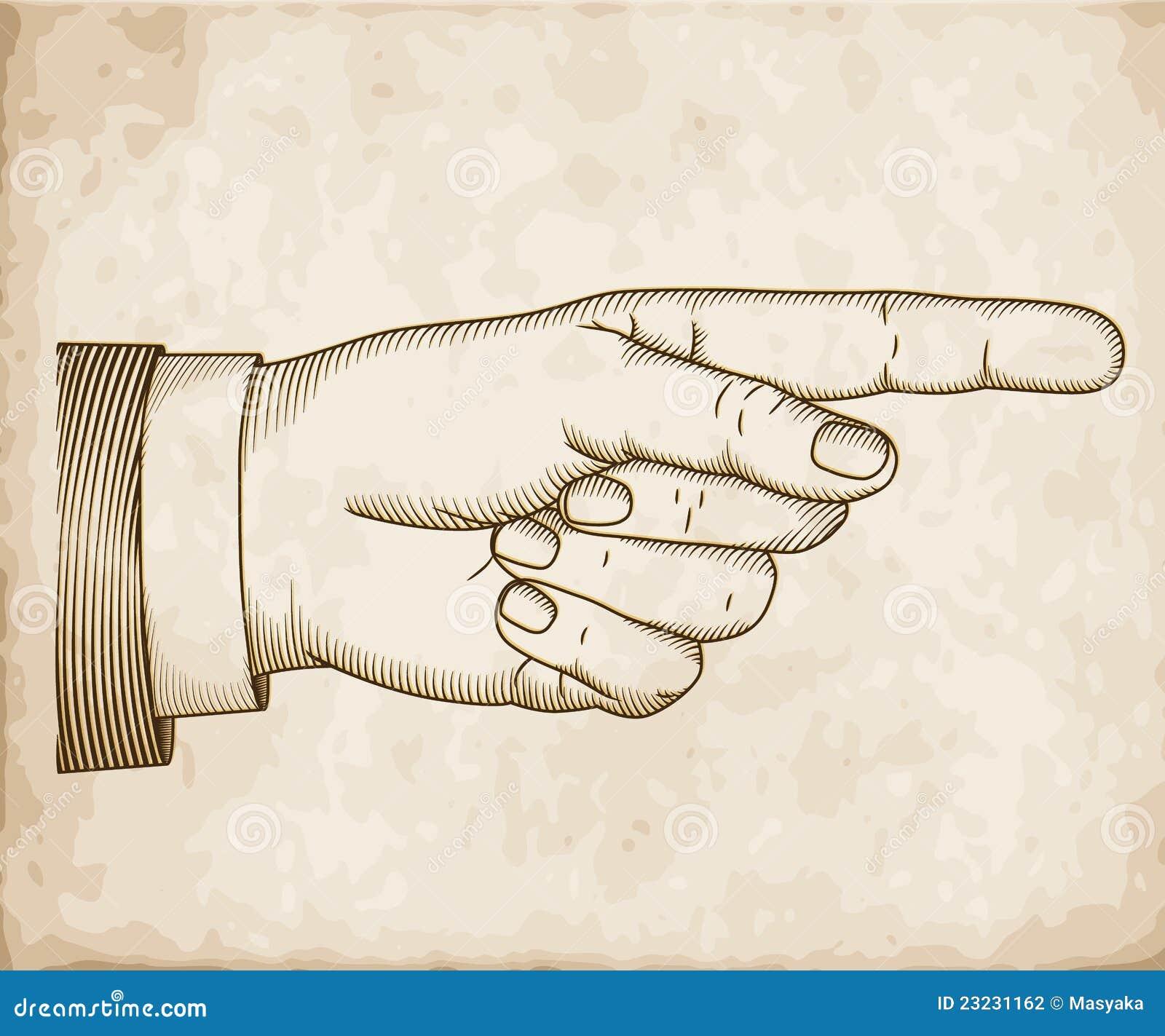 main avec diriger le doigt gravure sur bois photographie. Black Bedroom Furniture Sets. Home Design Ideas