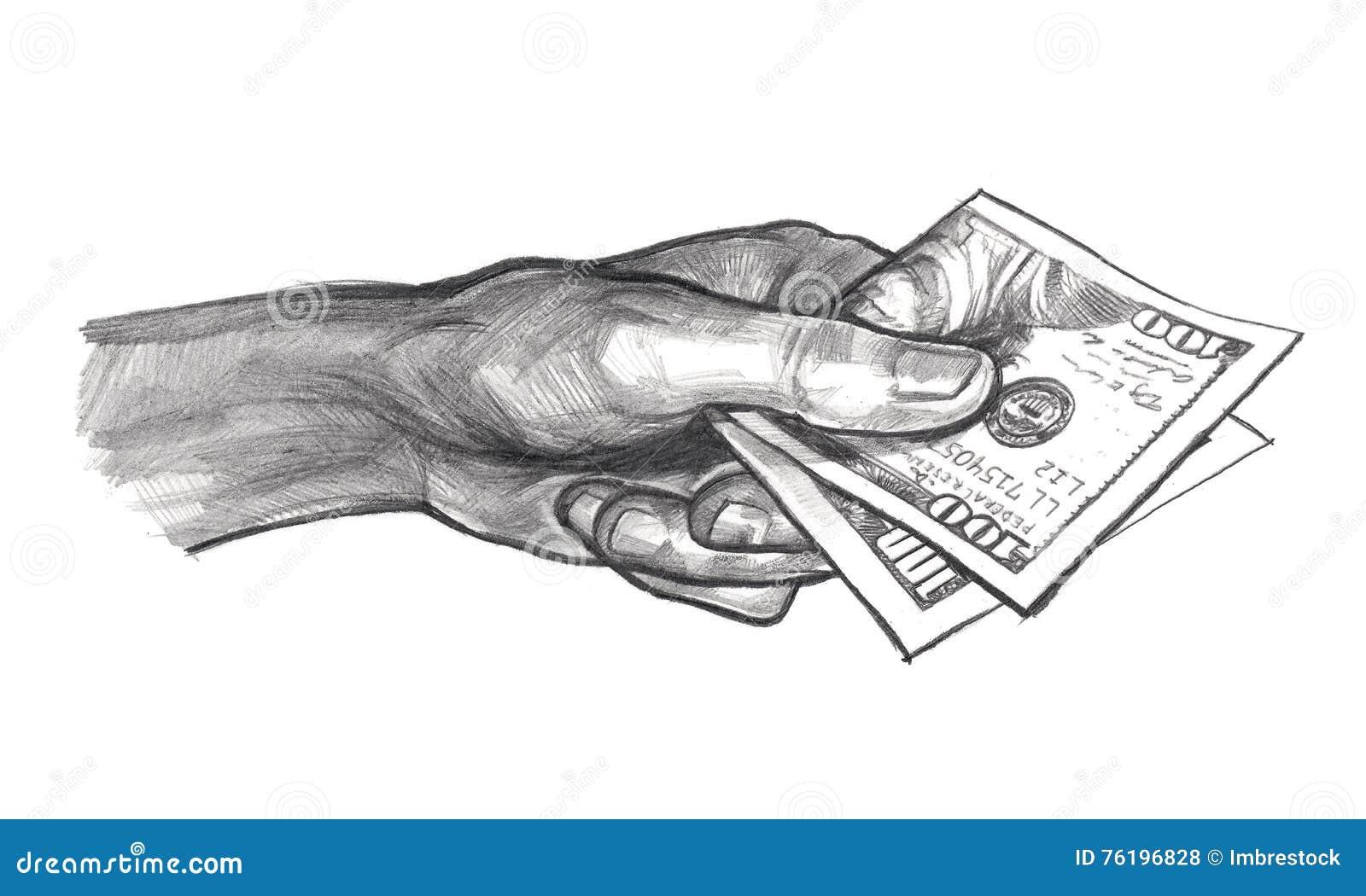 Main avec l 39 argent dessin au crayon illustration stock - Main dessin crayon ...