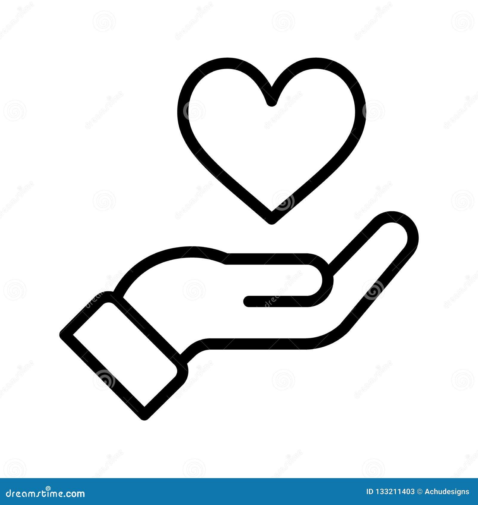 Main avec l icône de coeur