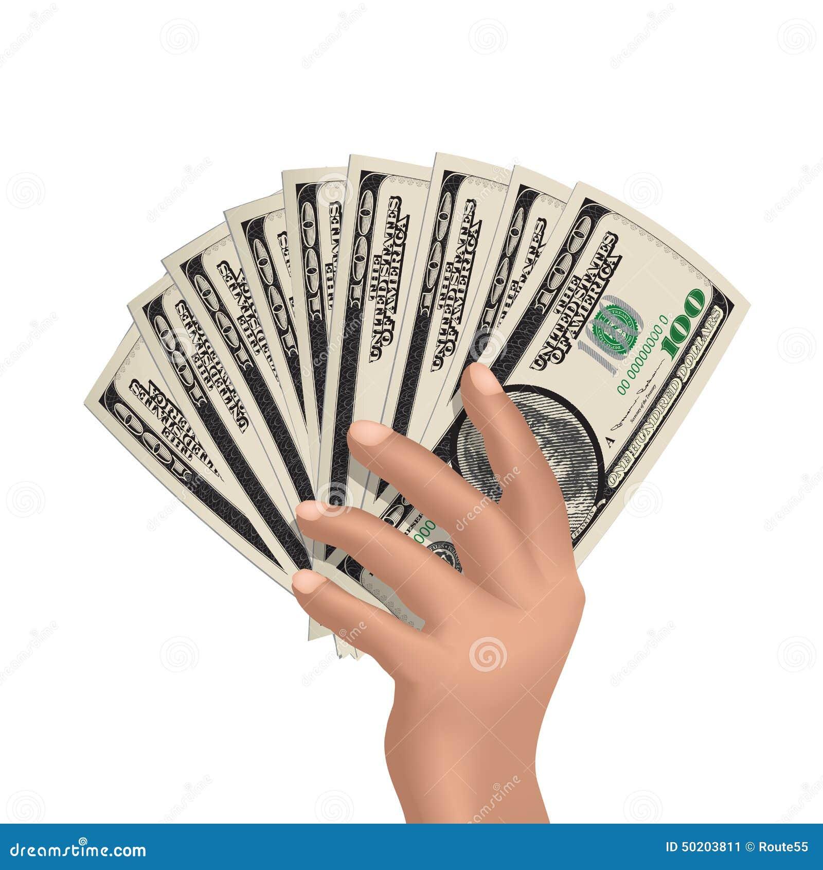 Main avec le dollarsHand jugeant les dollars américains d isolement sur le blanc