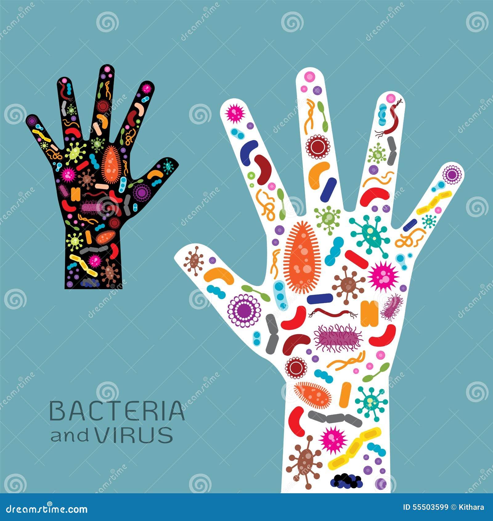 Viral Times Web: Main Avec Les Bactéries Et Le Virus Illustration De