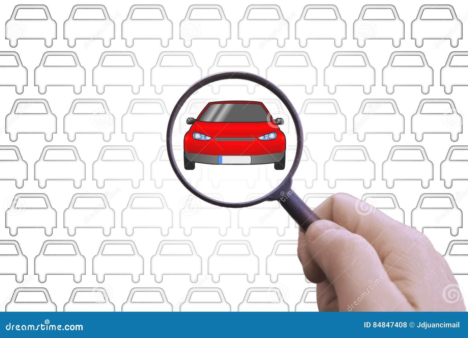 main avec une loupe recherchant une voiture pour louer ou acheter photo stock image du. Black Bedroom Furniture Sets. Home Design Ideas