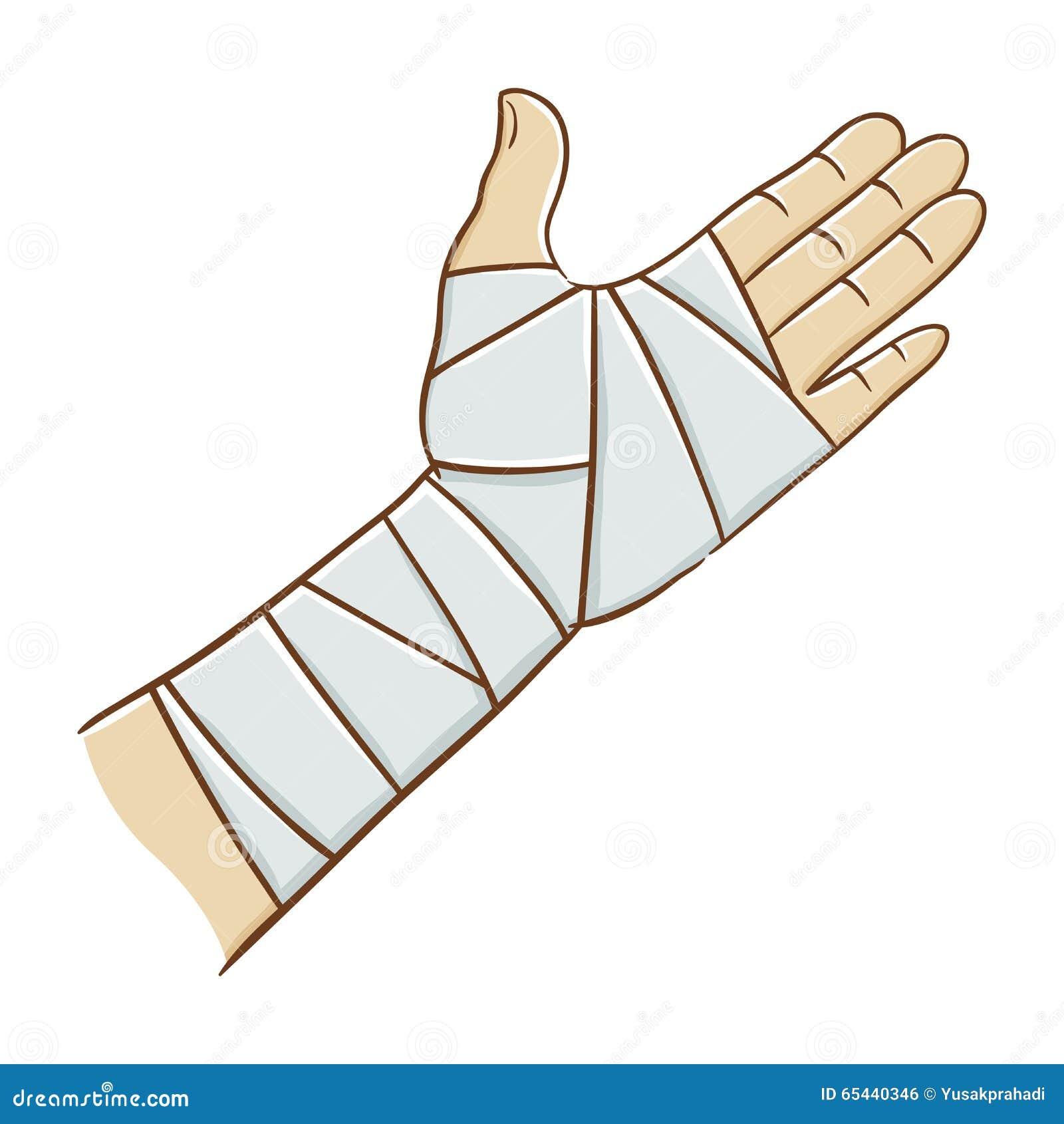 Main blessée enveloppée dans l illustration élastique de vecteur de bandage
