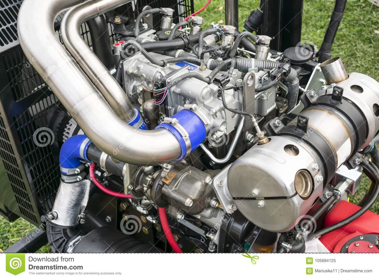 Internal Combustion Engine On Display Stock Image - Image of cables ...