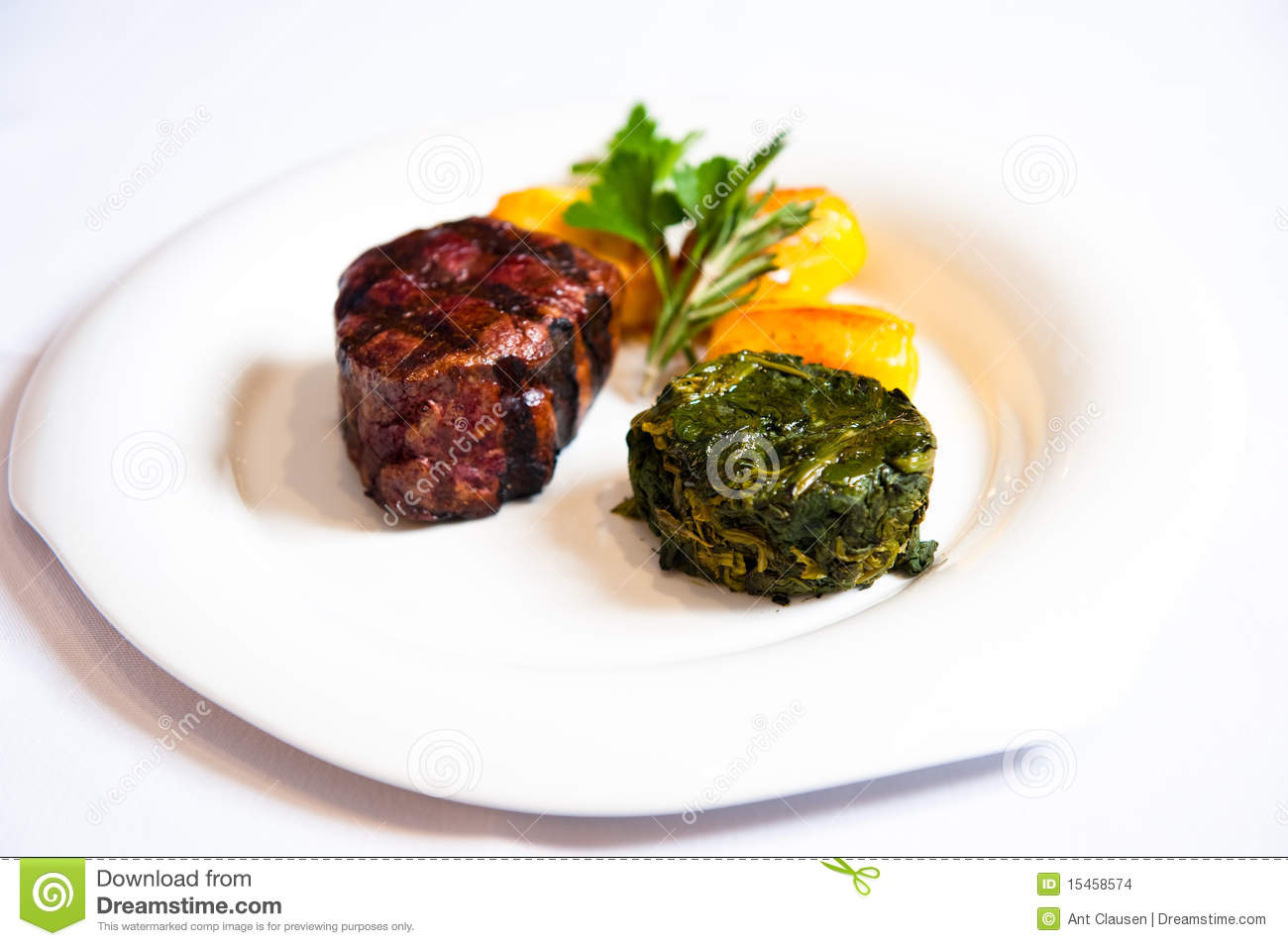 Main Course Beef With Spinach White Plate Stock Images