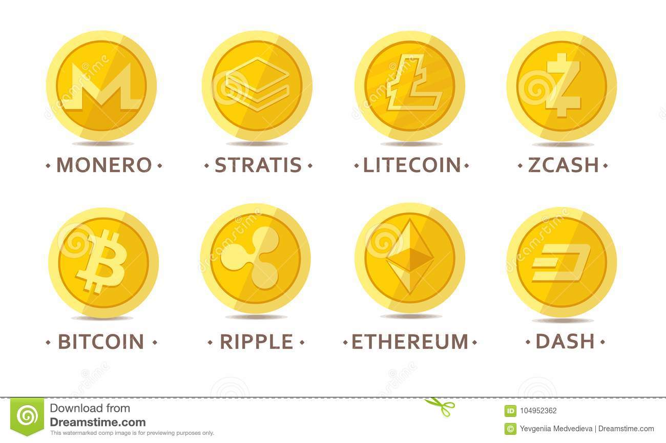 Main cryptocurrency coins set