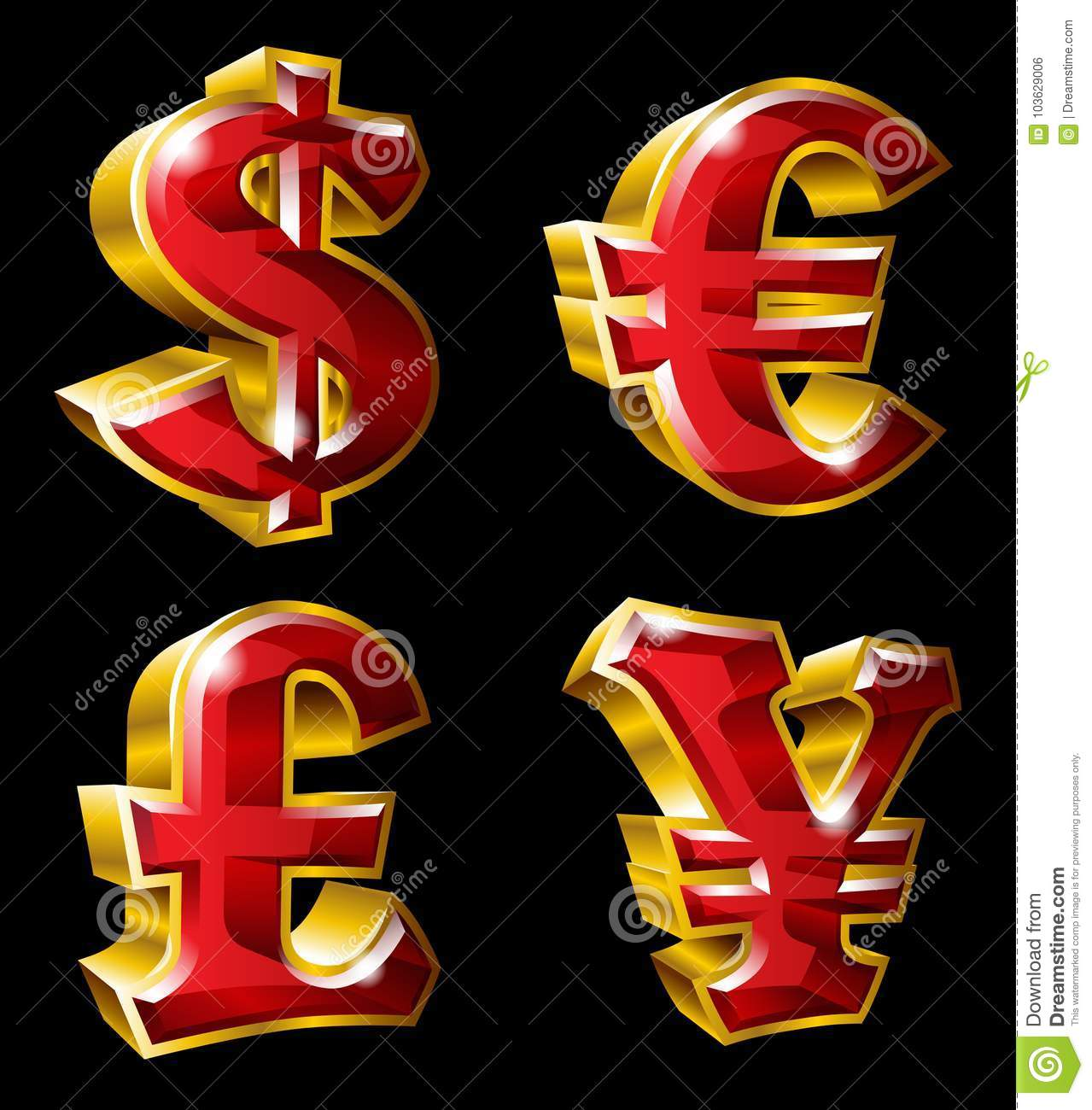 Main Currency Symbols Stock Vector Illustration Of Cash 103629006