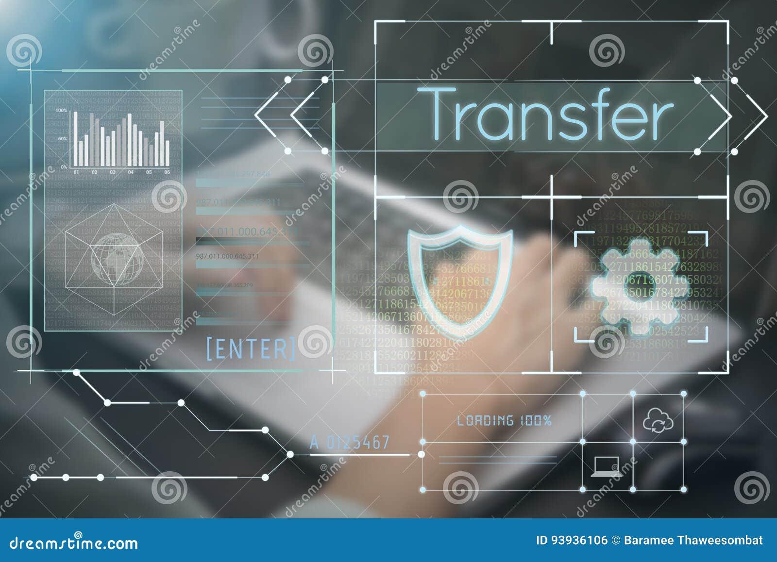 Main d affaires dactylographiant sur le clavier d ordinateur avec la page d accueil de transfert