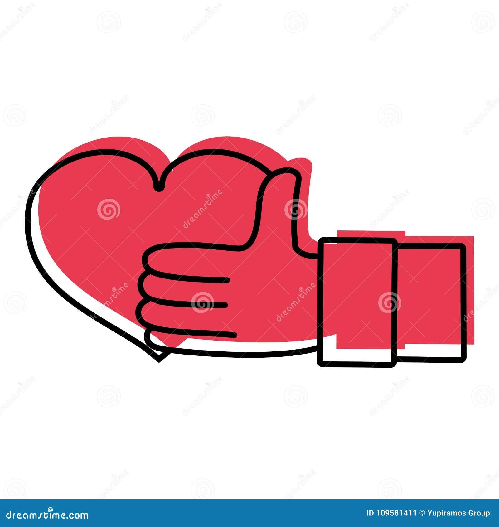 Main D Homme De Couleur Avec Le Symbole D Amour De Coeur De