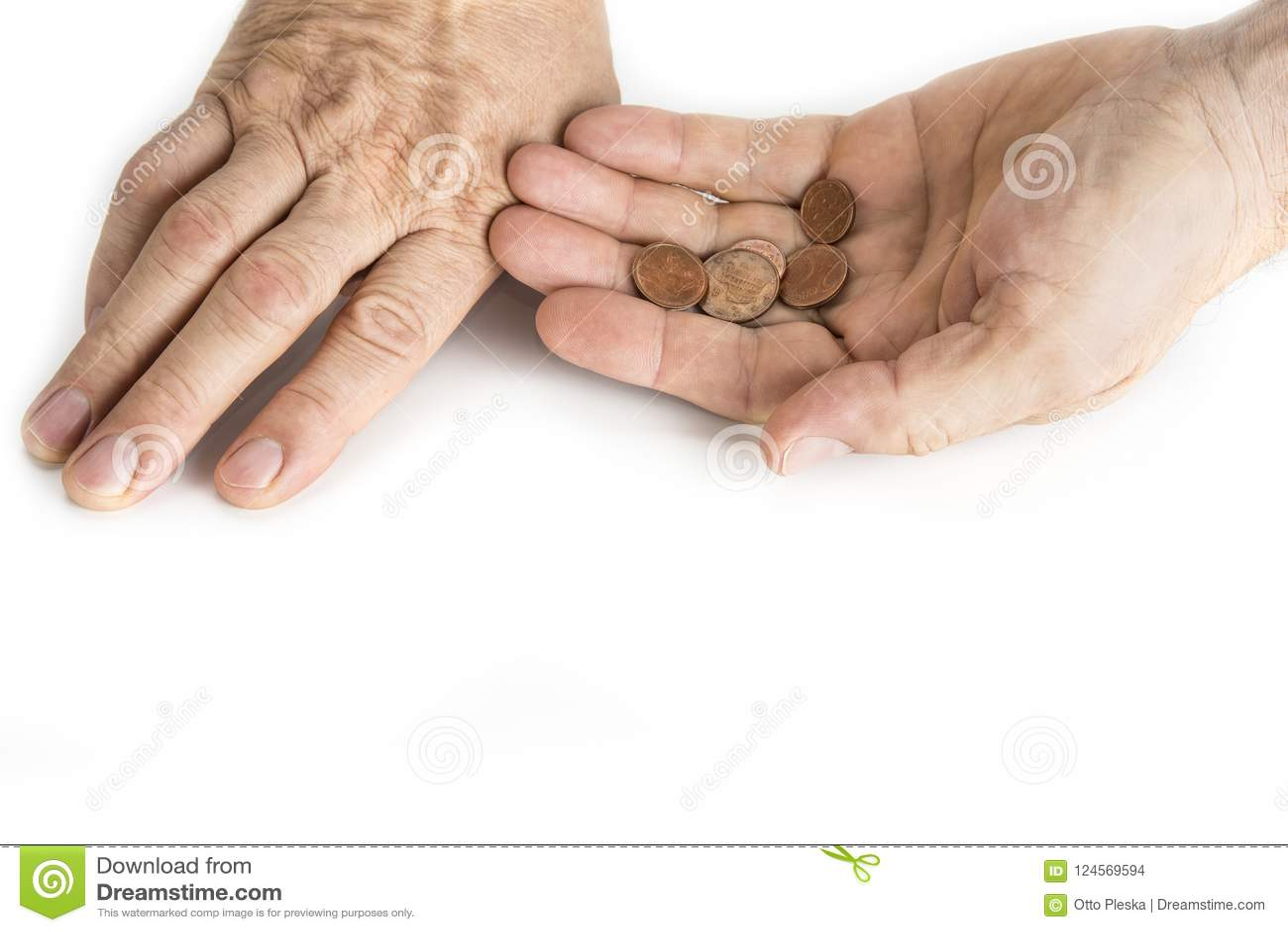 Main d homme de mendiant avec des nickels sur le blanc
