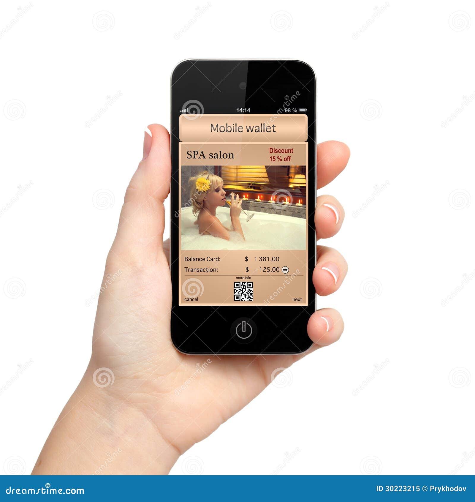Main d isolement de femme tenant le téléphone avec un portefeuille et un a mobiles
