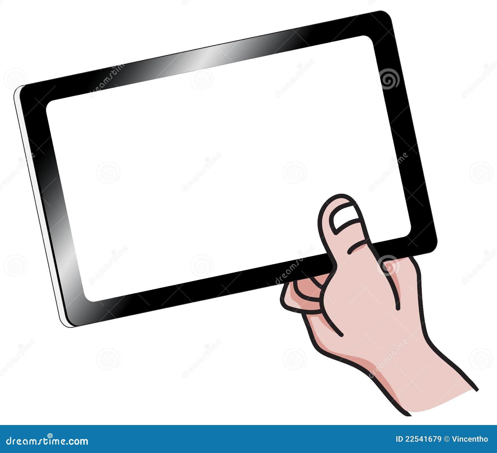 main de dessin anim retenant une illustration de pc de tablette images libres de droits image. Black Bedroom Furniture Sets. Home Design Ideas