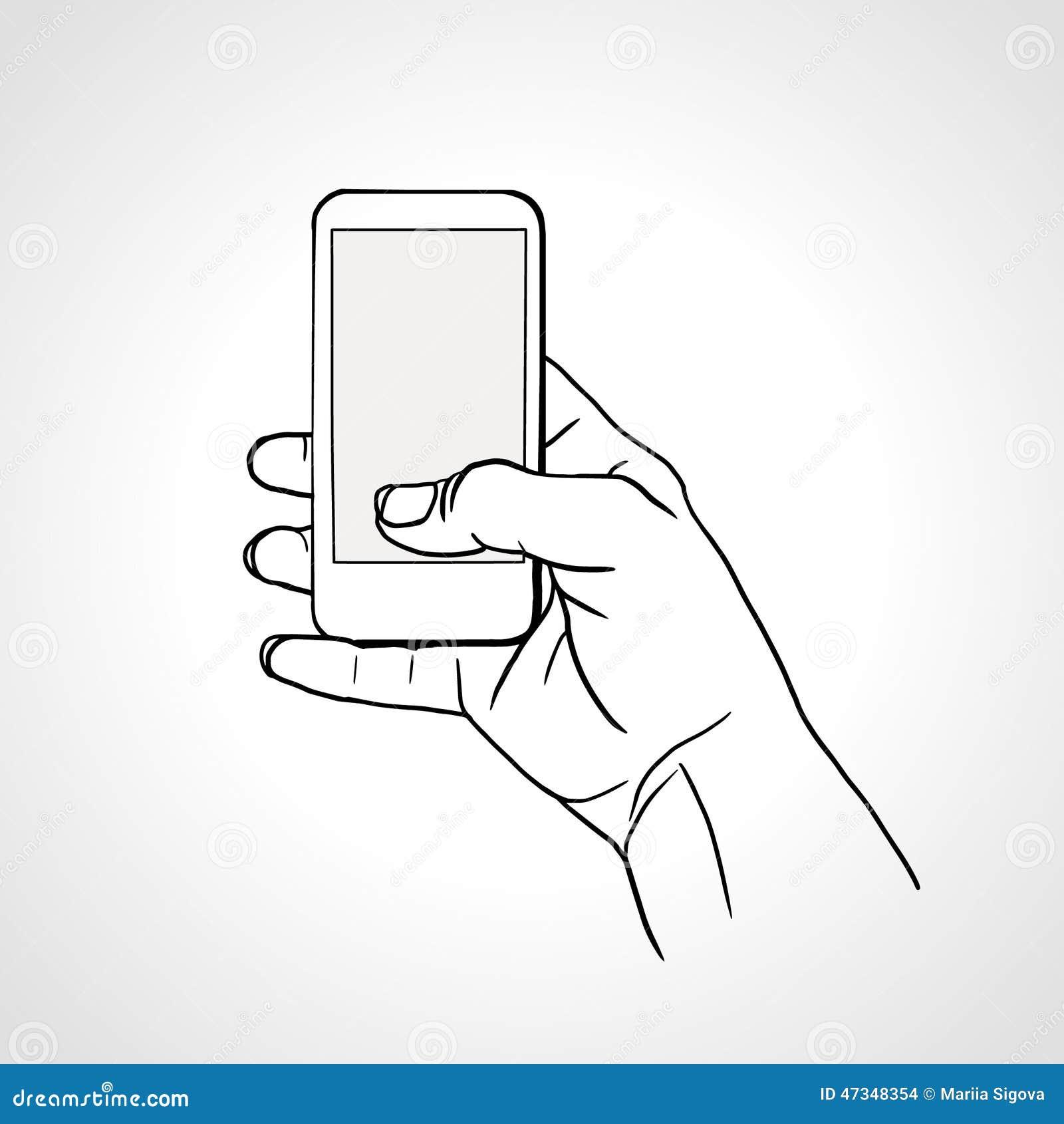main de dessin de sch ma avec le t l phone portable illustration de vecteur illustration du. Black Bedroom Furniture Sets. Home Design Ideas