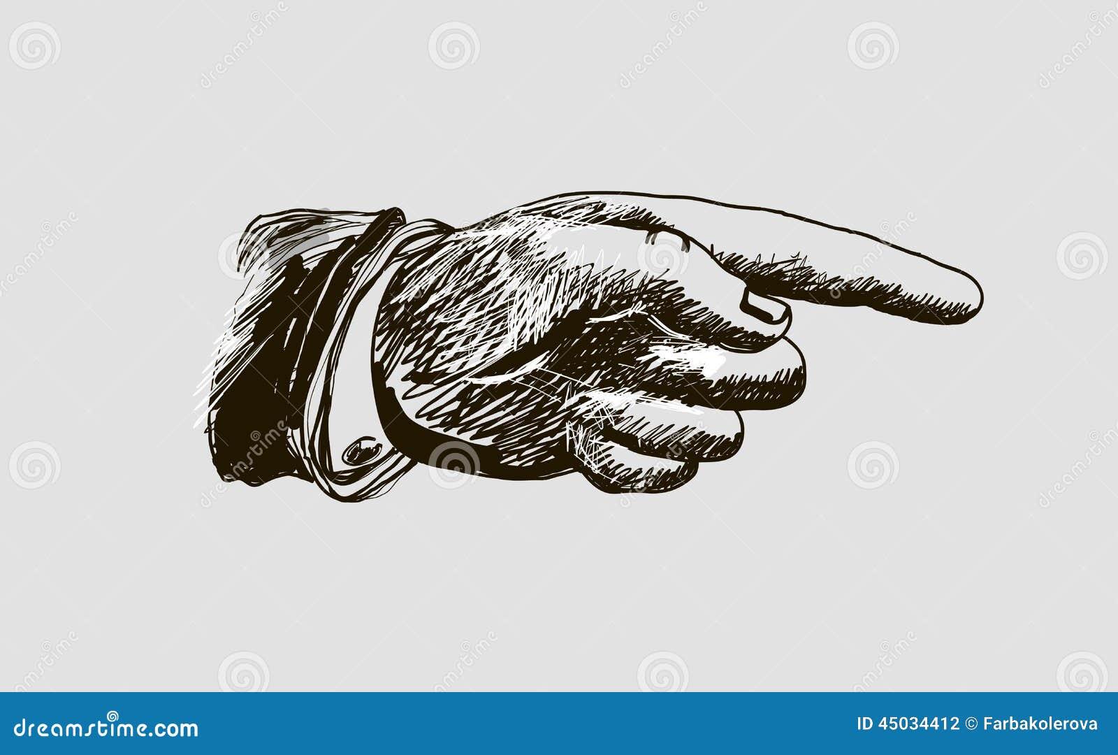 Main de dessin de vecteur avec l 39 index illustration stock - Main en dessin ...