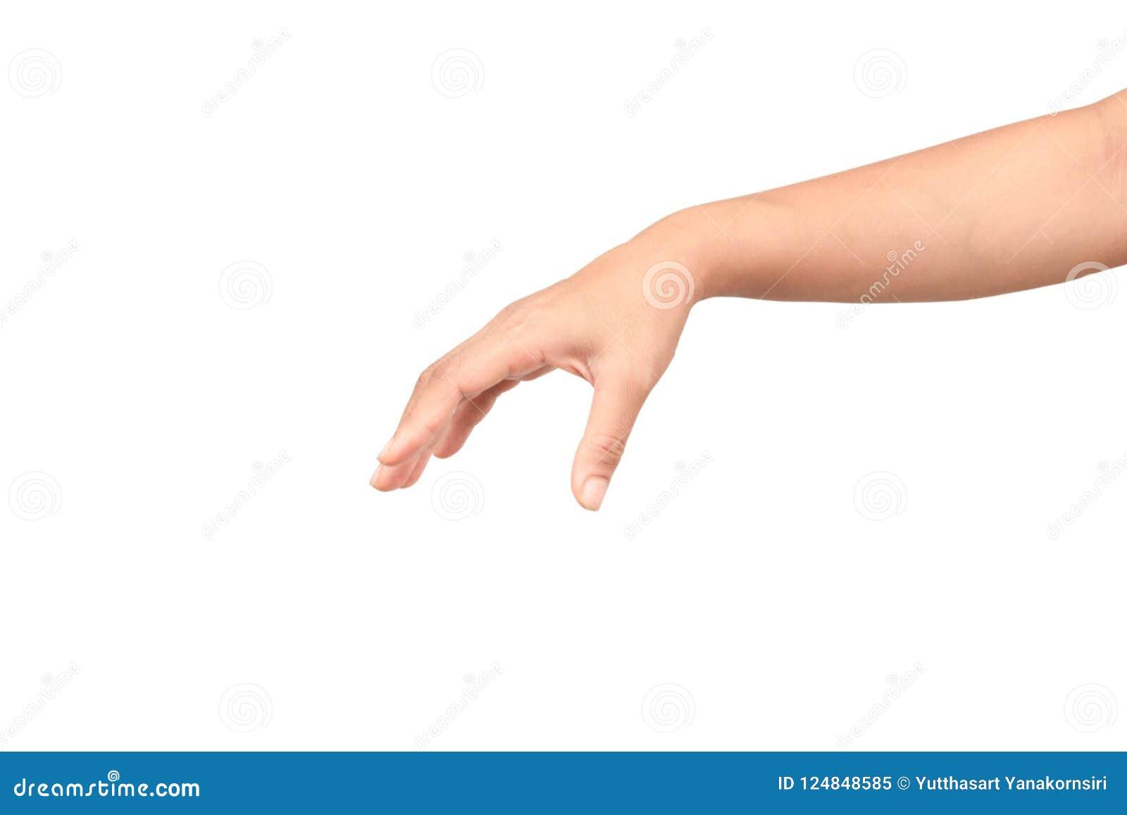Main de femme jugeant des articles d isolement sur le fond blanc