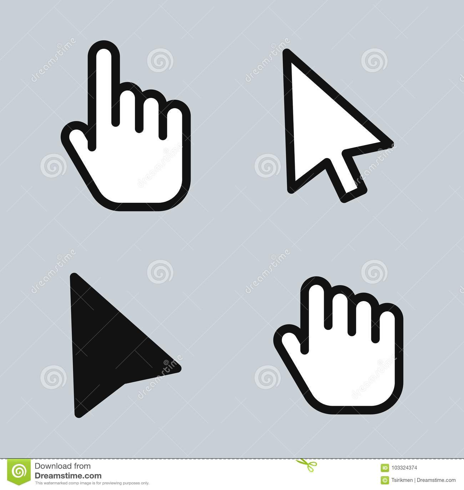 Main de flèche de curseur de souris