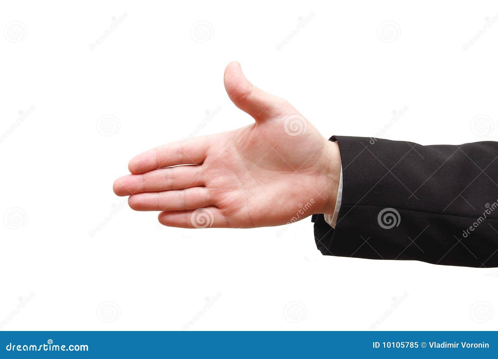 Main de l homme prête pour la prise de contact