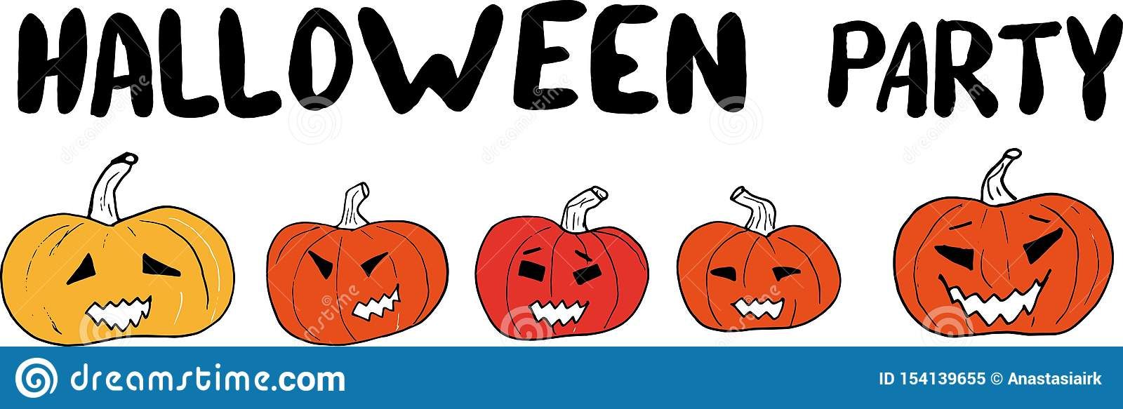 Main de partie de Halloween dessinant marquant avec des lettres la bannière avec les potirons découpés sur un fond blanc illustra