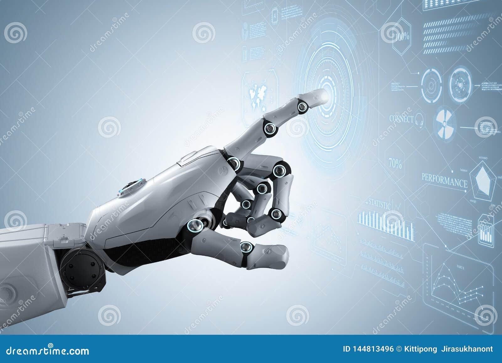 Main de robot avec l affichage graphique