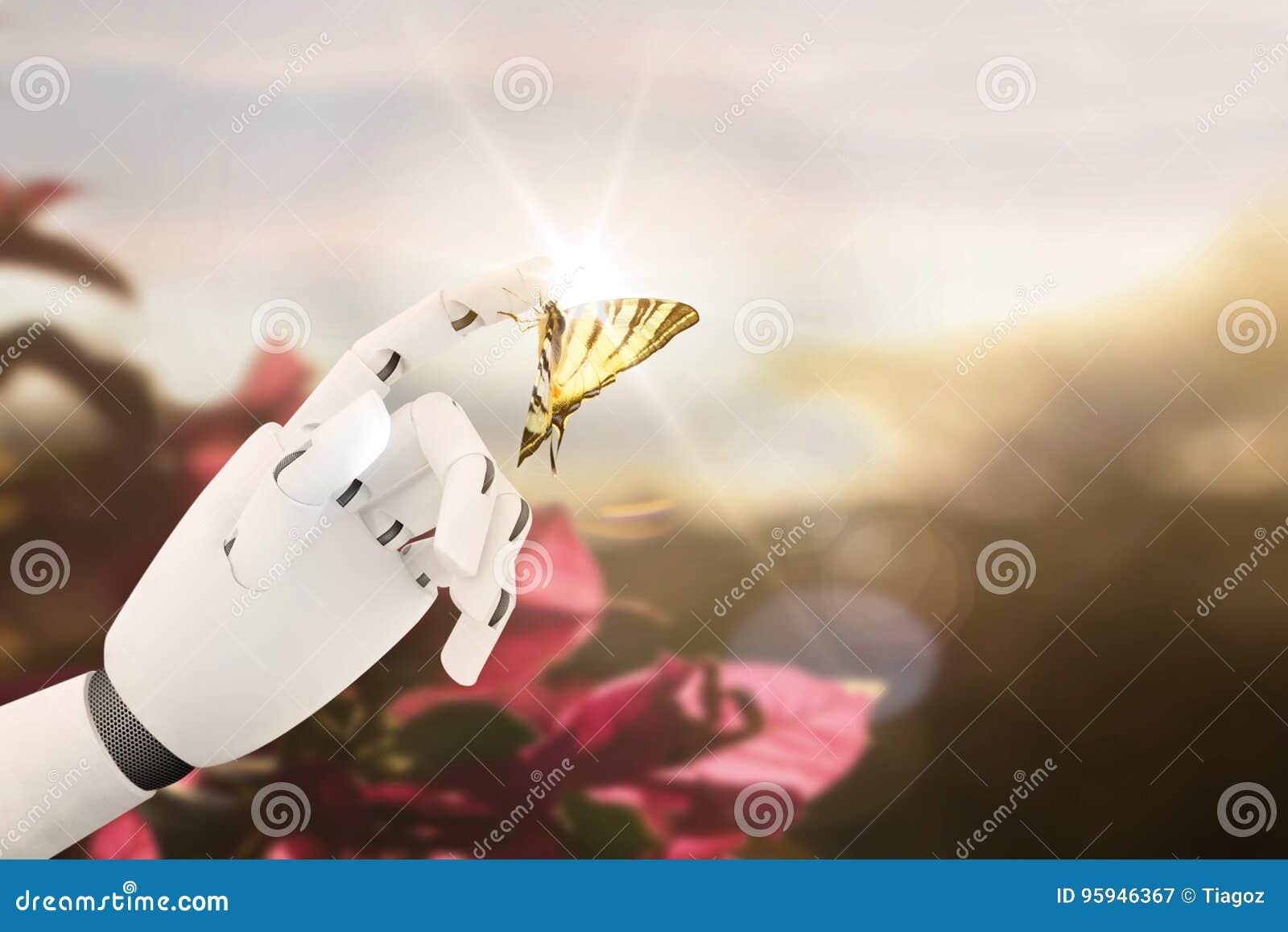 Main de robot avec un papillon là-dessus doigt du ` s