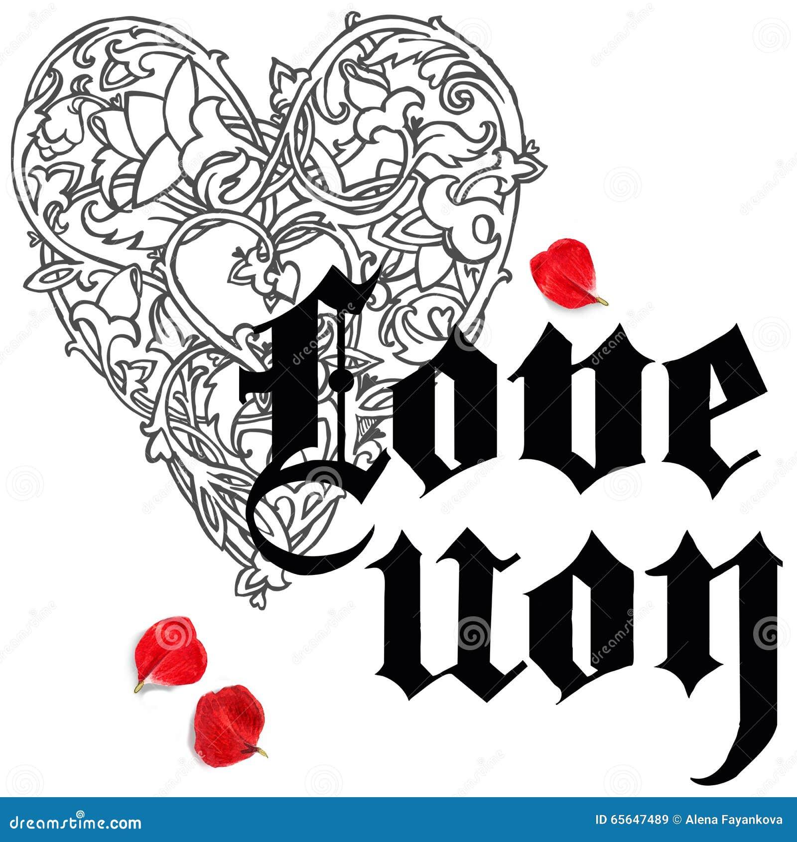 Main de Saint Valentin dessinant le fond gothique des textes Coeur de rouge d aquarelle