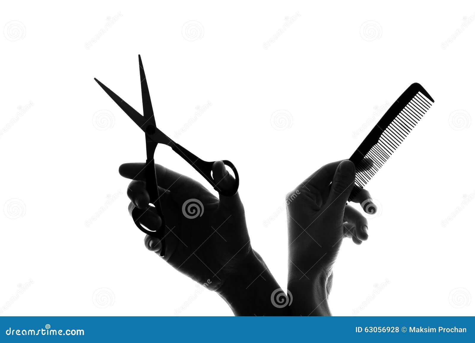 Main de silhouette avec un peigne et des ciseaux