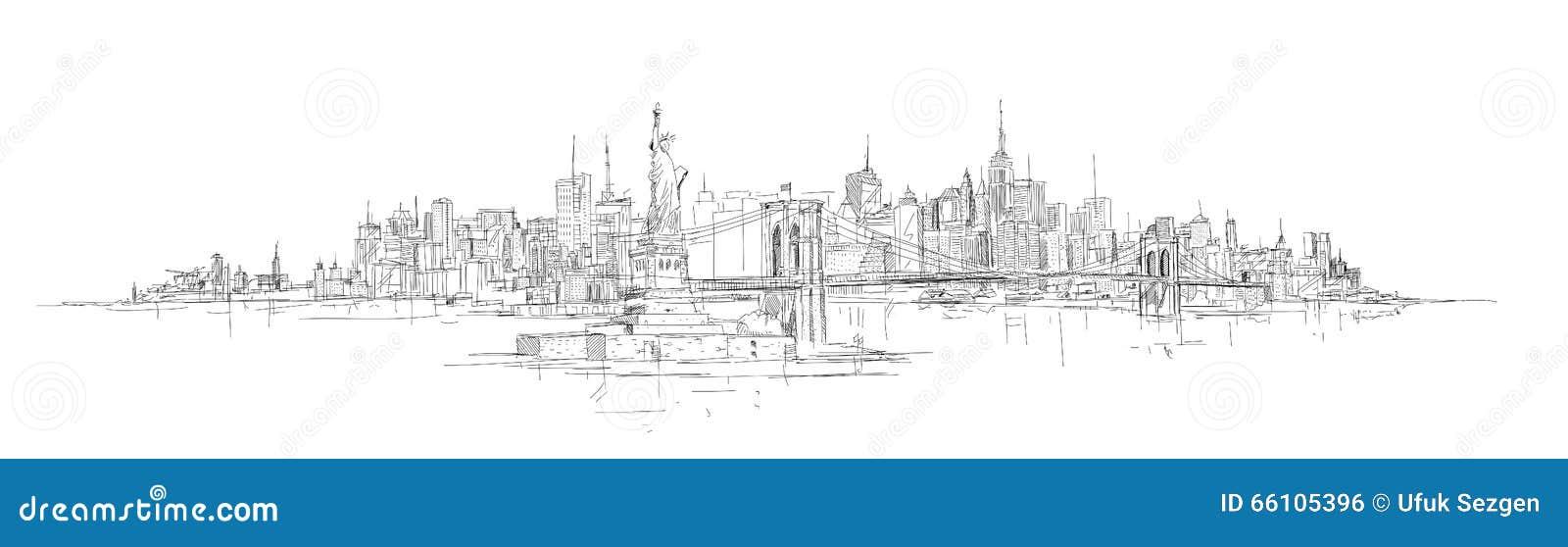 Main de vecteur dessinant la silhouette panoramique de New York City
