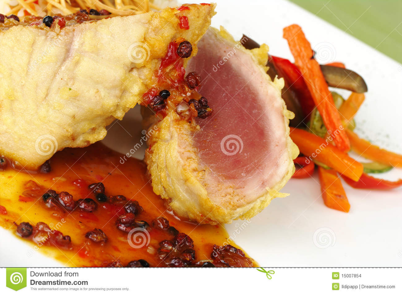 Main dish raw tuna fish with pepper gravy stock images for Raw fish dish