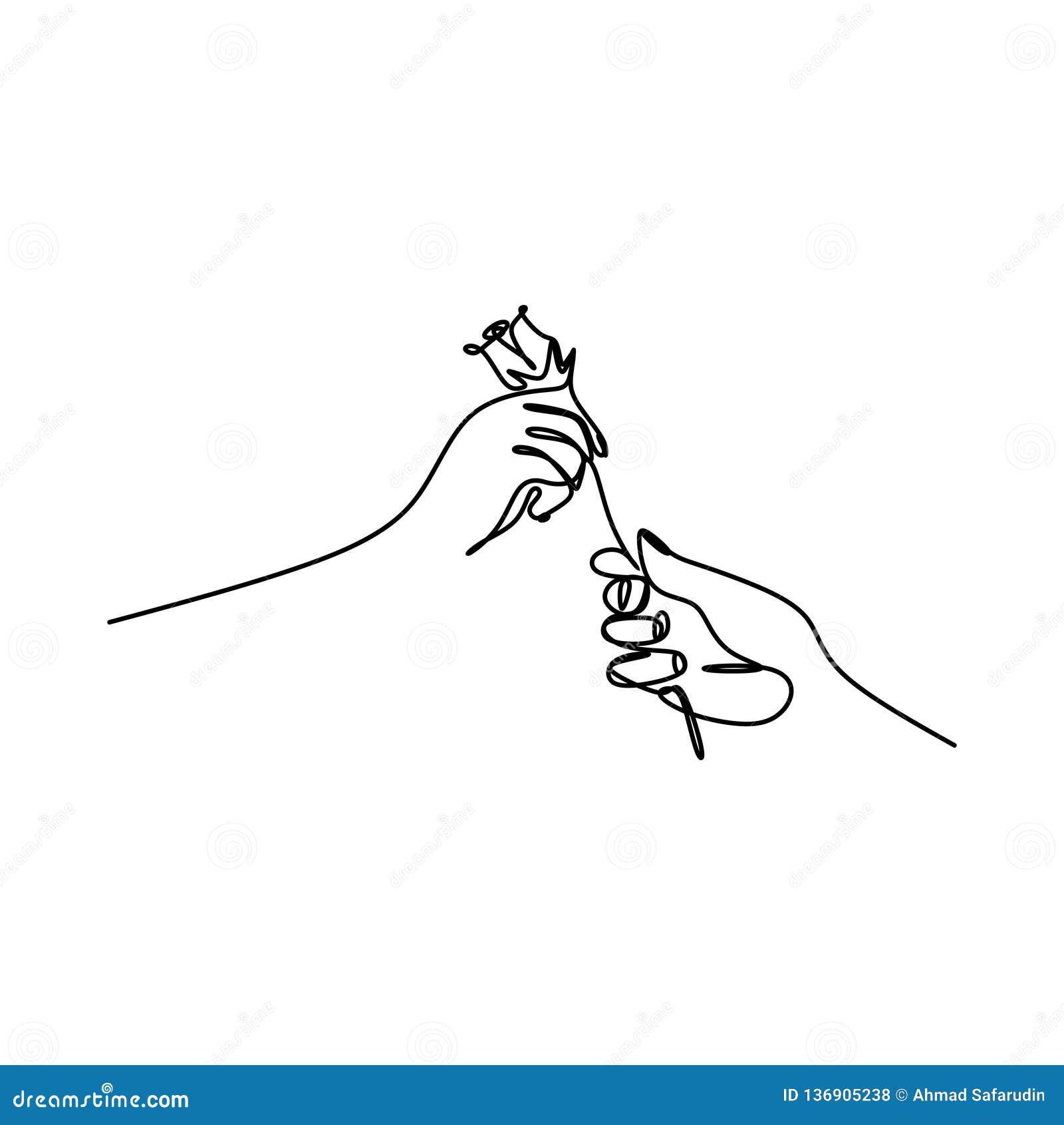 Main Donnant à Une Fleur Un Vecteur De Dessin Au Trait