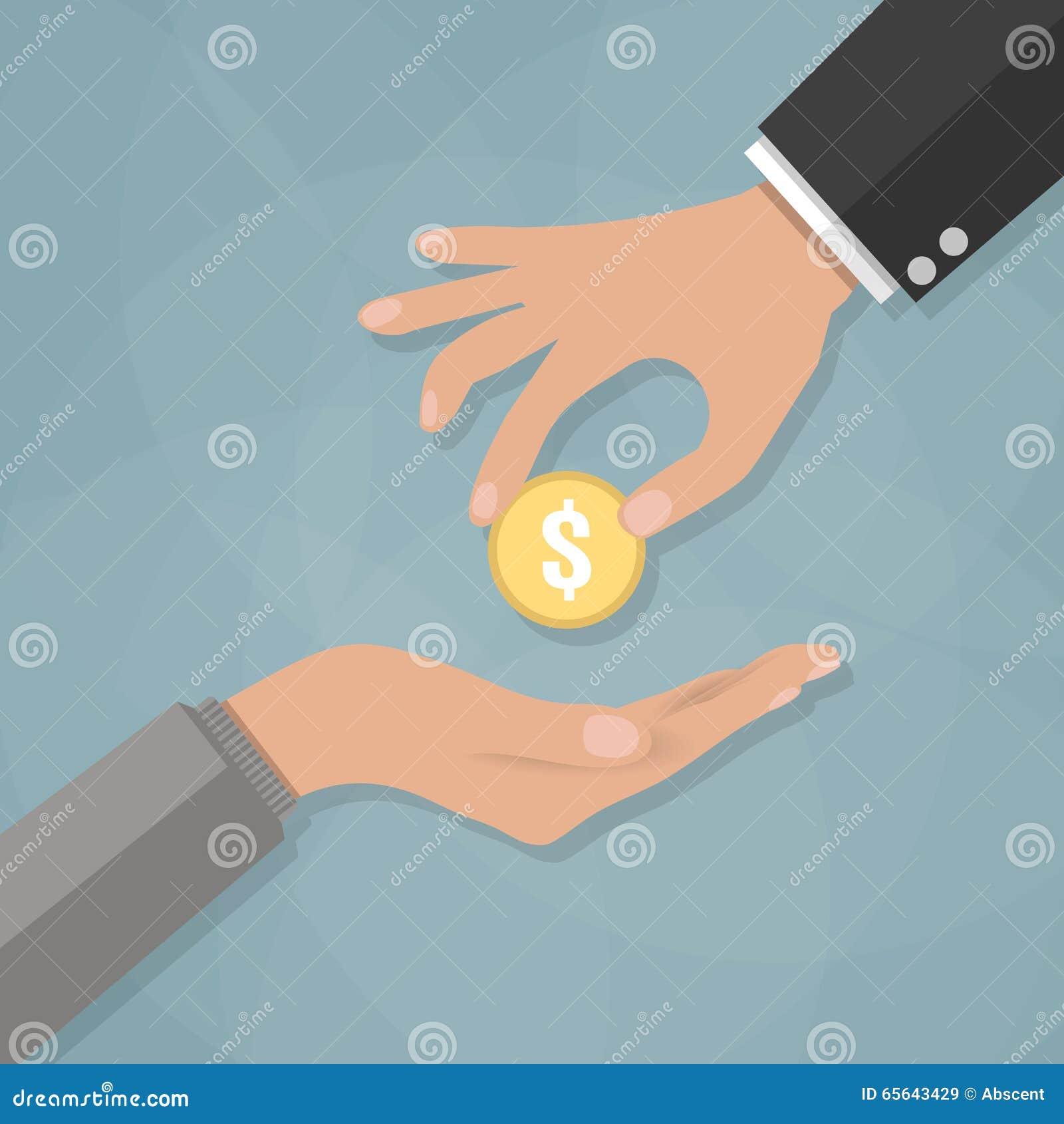 Main donnant la pièce de monnaie d or à une autre main