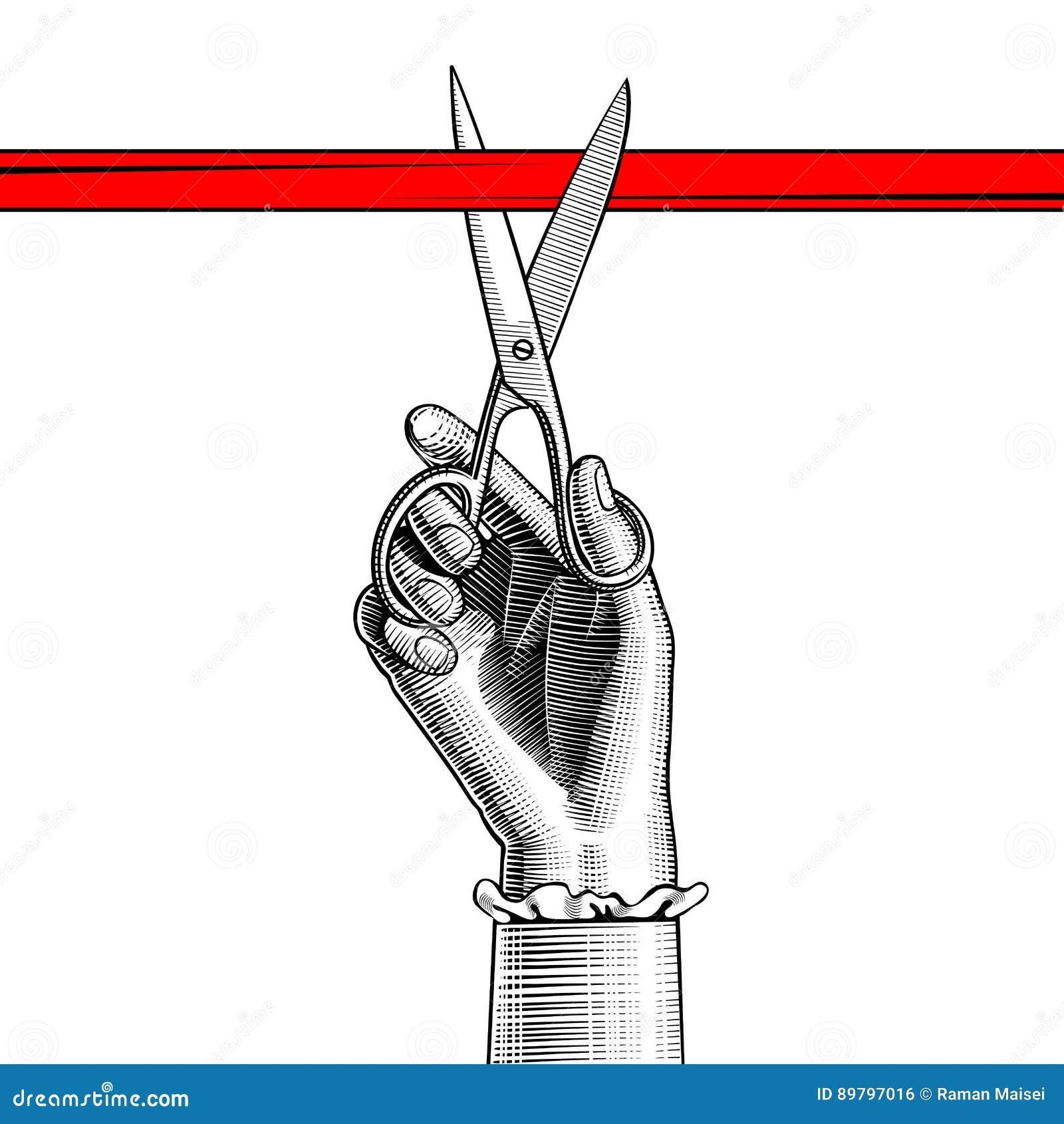 Main du ` s de femme avec des ciseaux coupant le ruban rouge