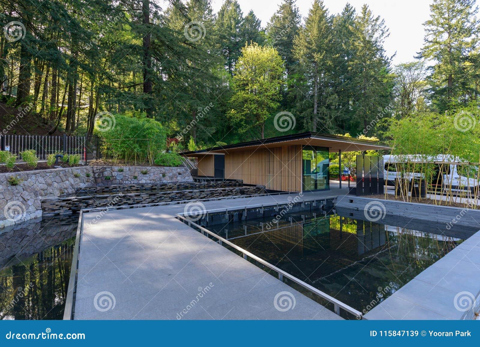 The Main Entrance Of Portland Japanese Garden At Spring Season
