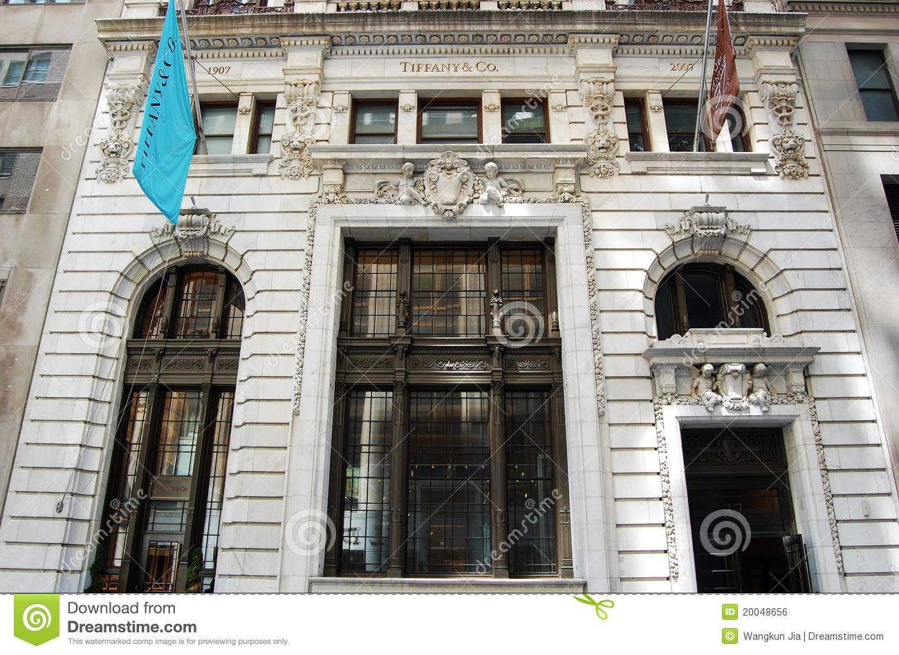 main entrance to tiffany store new york editorial photo