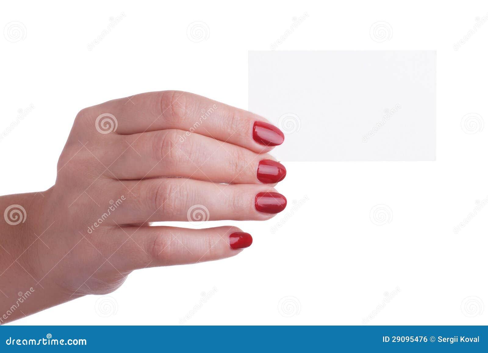 Download Main Femelle Avec La Manucure Rouge Retenant Une Carte De Visite Professionnelle Photo