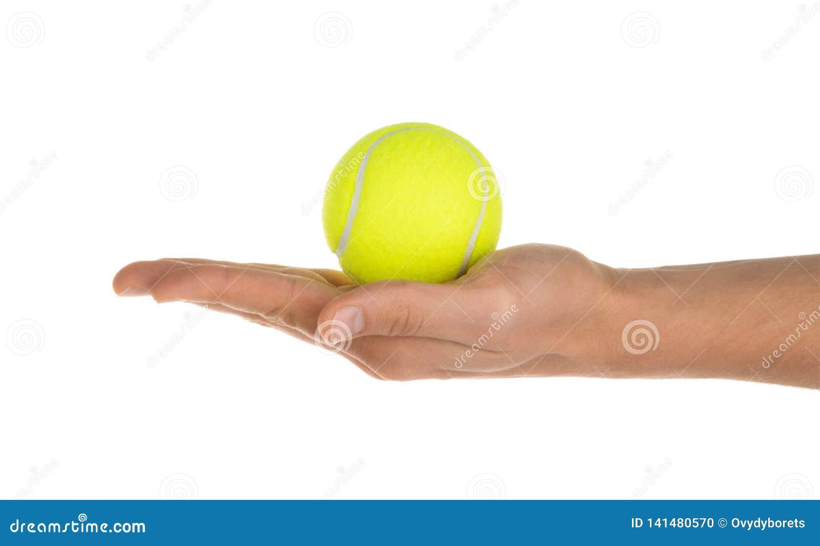 Main jugeant la balle de tennis d isolement sur le chemin de coupage blanc