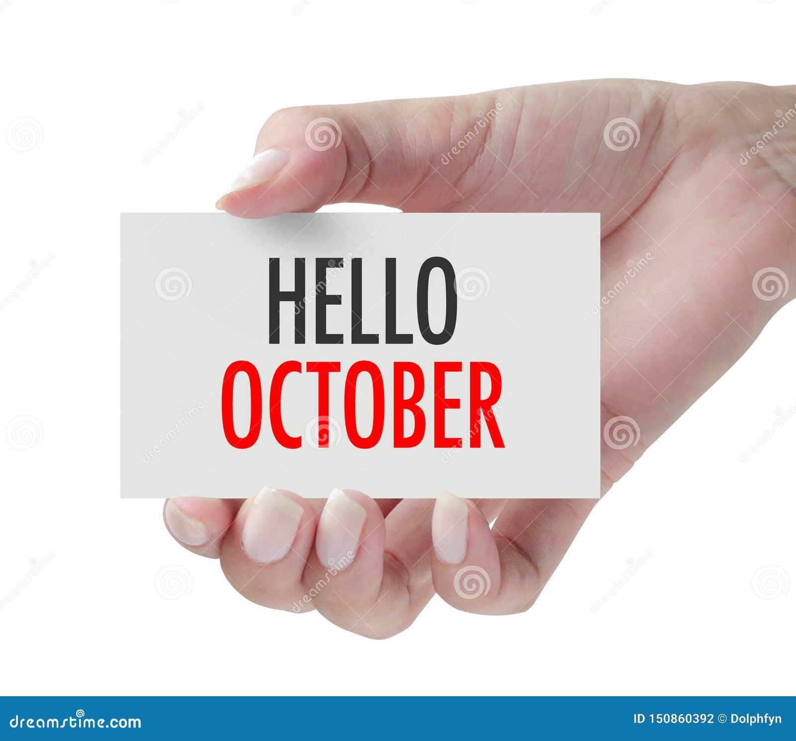 Main montrant le bonjour octobre