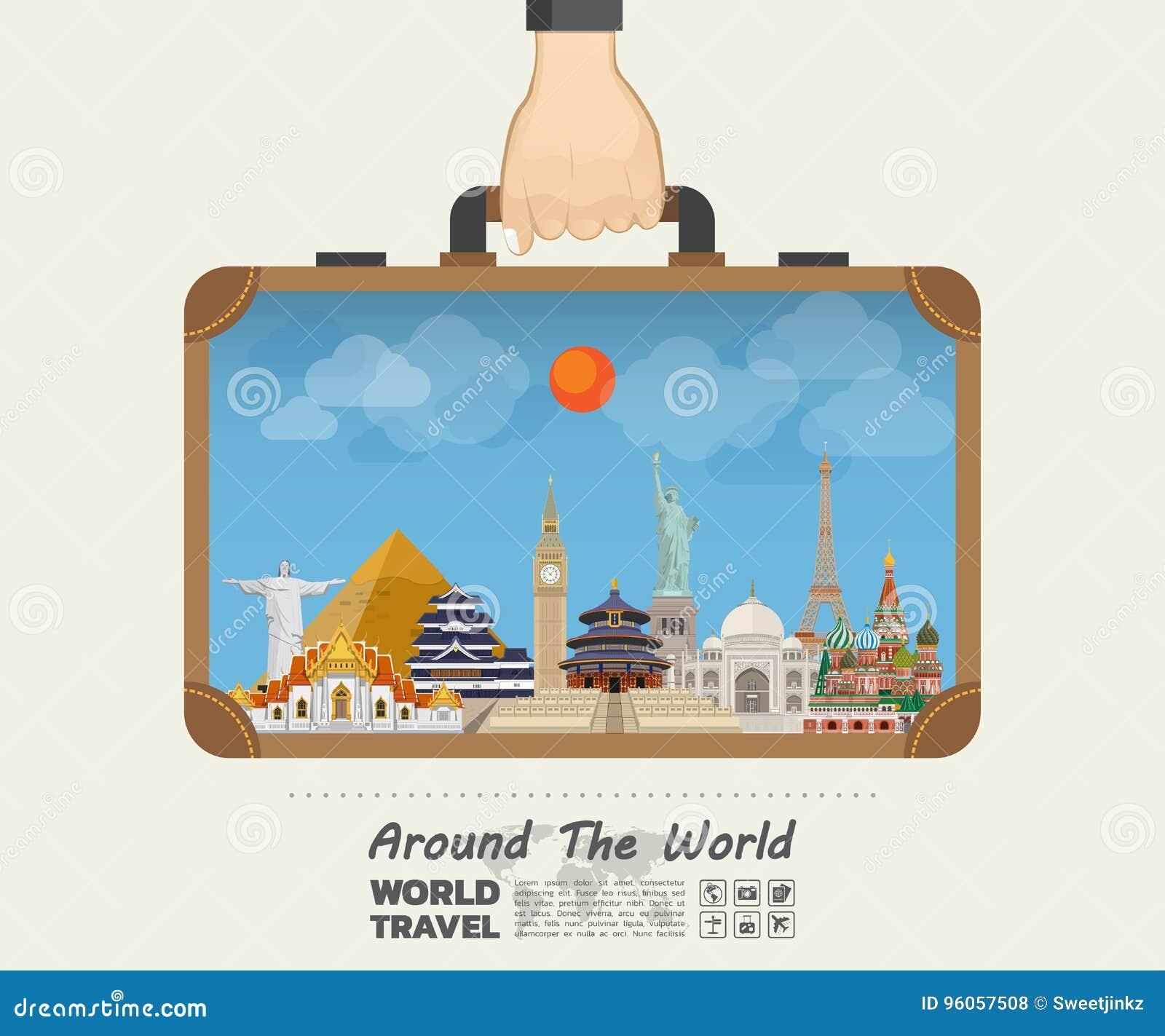 Main portant le point de repère de renommée mondiale Voyage et voyage globaux I