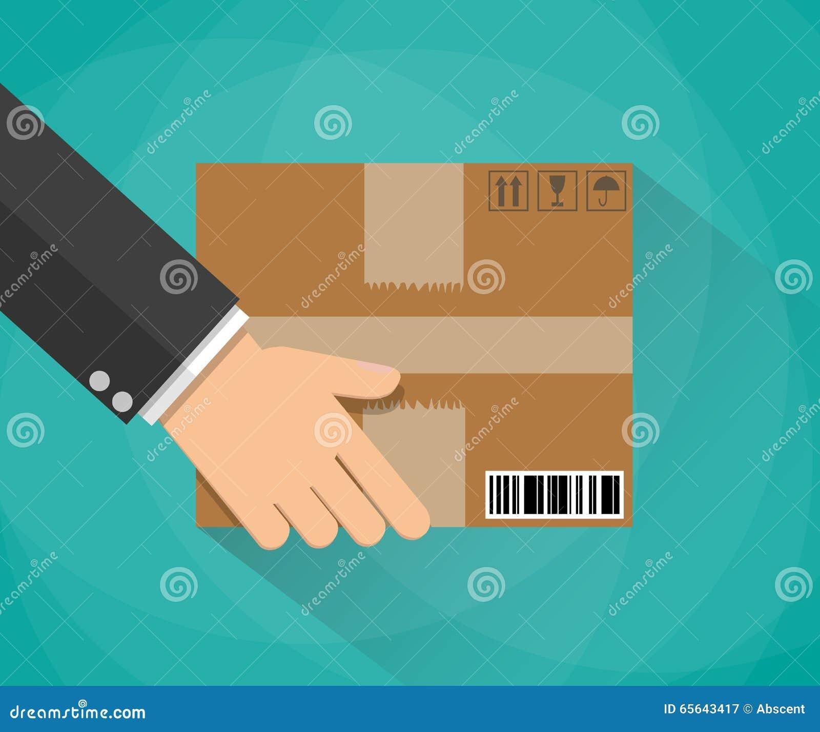 Main portant une boîte en carton