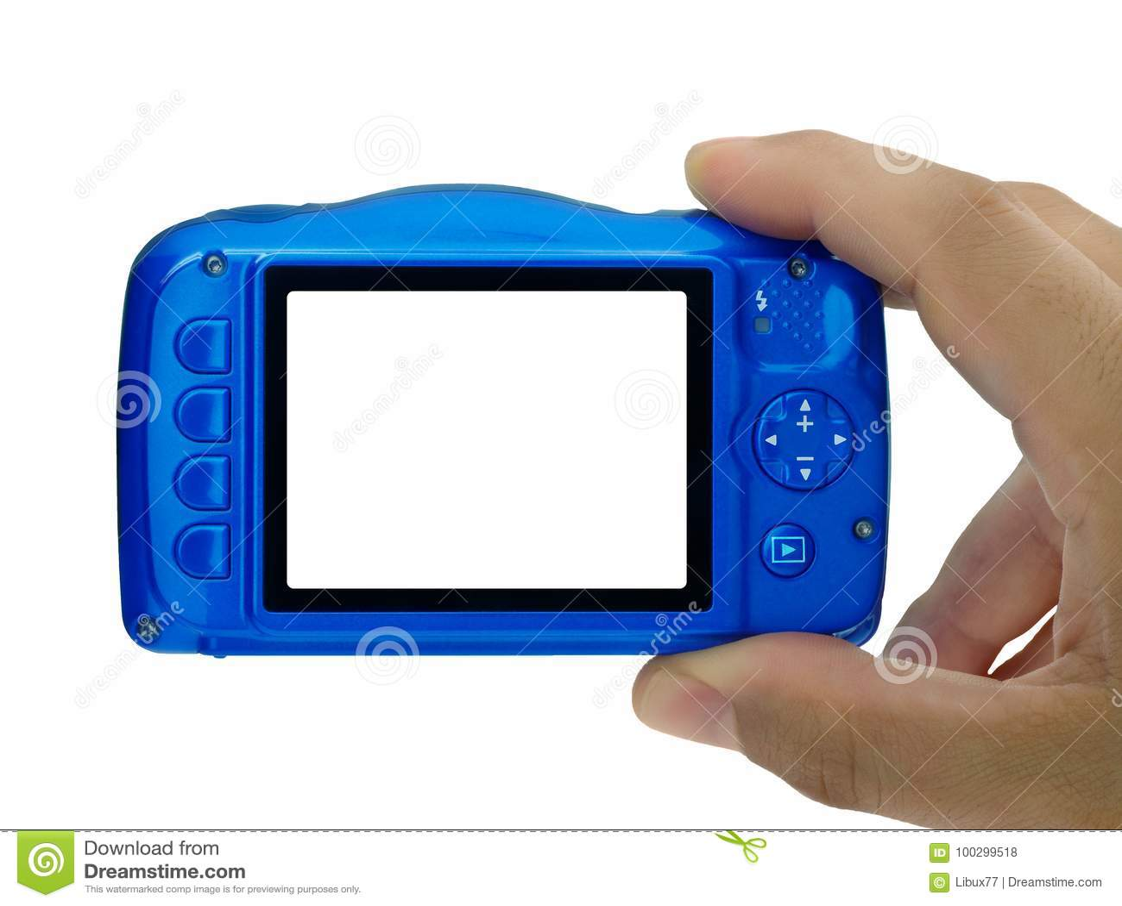 Main prenant à photo l appareil-photo compact affichage neutre d isolement