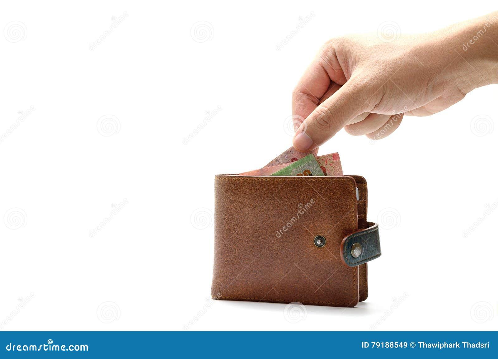 4eecea834fdd Main prenant le billet de banque du portefeuille sur le fond d isolement  par blanc