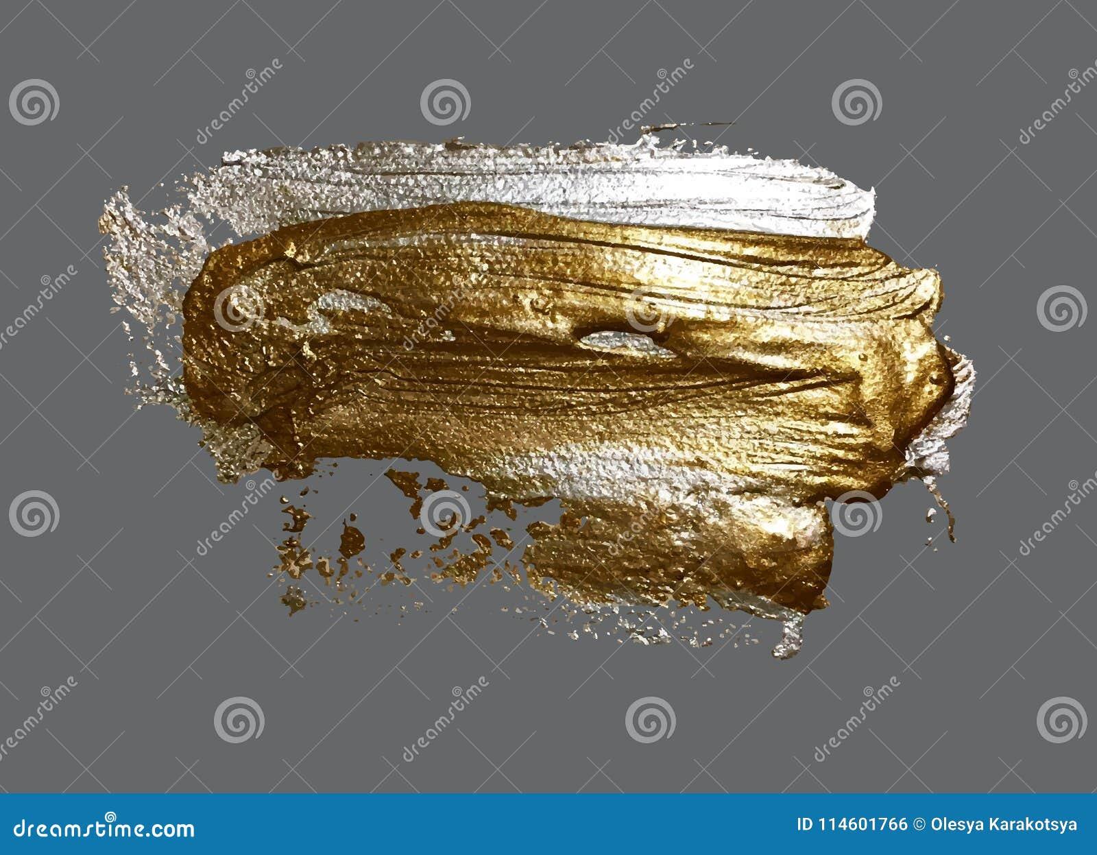 Main réaliste dessinant la tache d or de peinture de course de brosse